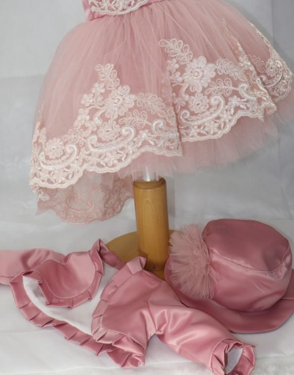 rochita cu trena karina roz prafuit trena_