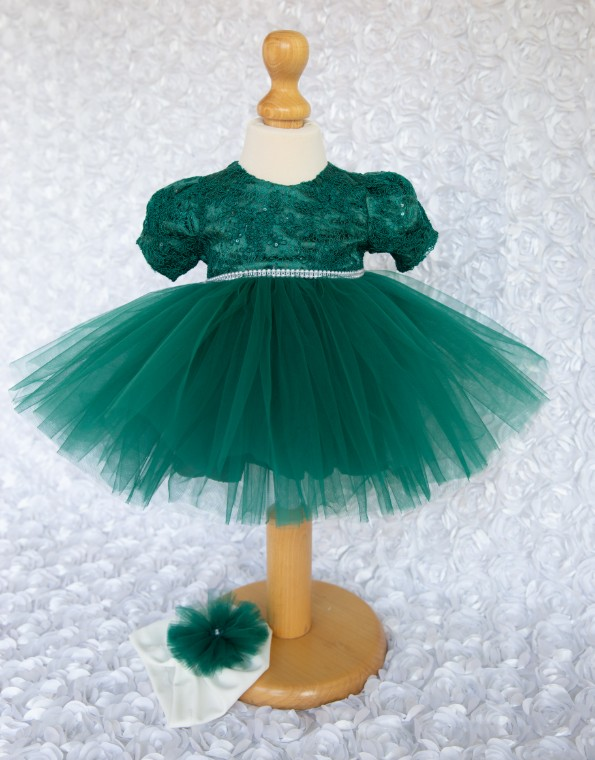 Rochita  botez Alexandra verde royal