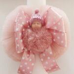 Lumanare botez Pufosul roz prafuit
