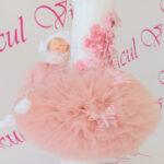 Lumanare botez roz praf