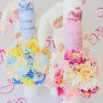 Lumanare de botez cu flori