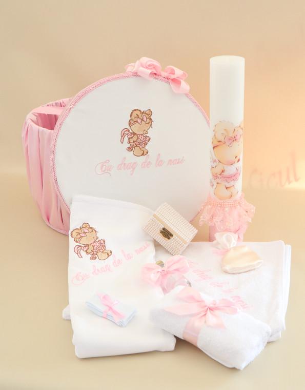 Pachet trusou botez ursulet roz pudra