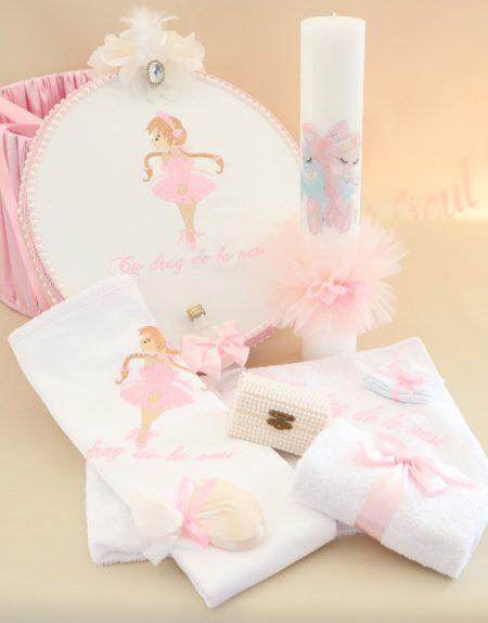Pachet trusou botez balerina roz pudra